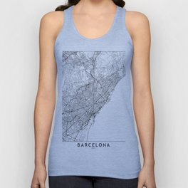 Barcelona White Map Unisex Tank Top