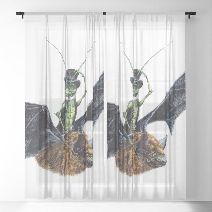""" Rider in the Night "" happy cricket rides his pet bat Sheer Curtain"
