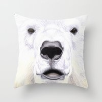 polar bear Throw Pillows featuring Polar Bear by StudioBlueRoom