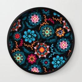 Suzani Inspired Pattern on Black Wall Clock