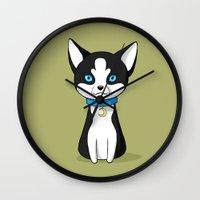 husky Wall Clocks featuring Husky by Freeminds