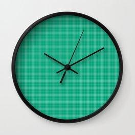 Large Stripe Christmas Holly Green Tartan Check Plaid Design Wall Clock