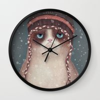 christmas Wall Clocks featuring Christmas Cat by Lime