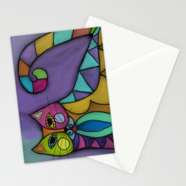 Cat of Many Colors Abstract Digital Painting  Stationery Cards