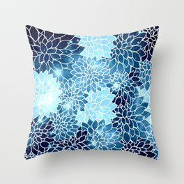 Space Dahlias Blue Ice Throw Pillow
