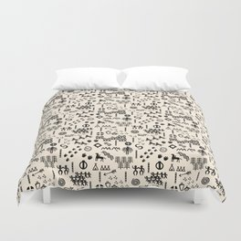 Peoples Story - Black and Creme Duvet Cover
