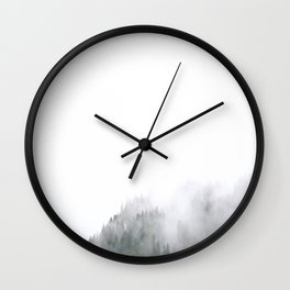 Mid Century Modern Round Circle Photo Graphic Design Minimal Foggy Mysterious Pine Forest Wall Clock