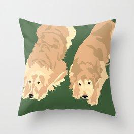 2 Golden Retrievers Throw Pillow