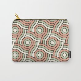 Circle Swirl Pattern Earthen Trail, Melon Green, and Dove White Carry-All Pouch