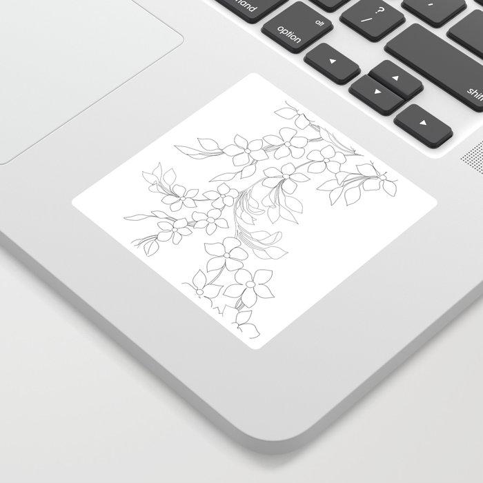Minimal Wild Roses Line Art Sticker