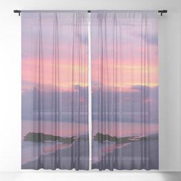 Island sunset Sheer Curtain