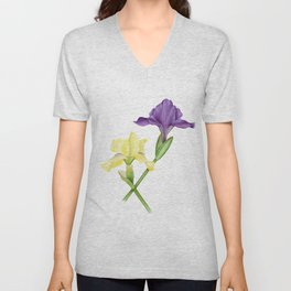 Watercolor irises Unisex V-Neck