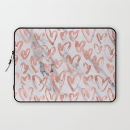 Hearts Rose Gold Marble Laptop Sleeve