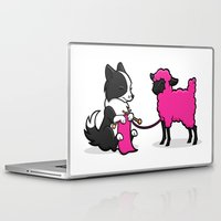 border collie Laptop & iPad Skins featuring Border Collie Knitting by Diony Cook Rouse