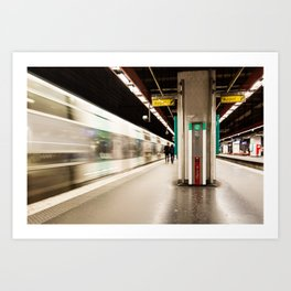 Fast train at the station Art Print