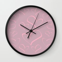 Heart shapes love romance art Wall Clock