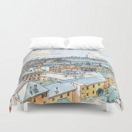 Panoramic of Genoa Duvet Cover