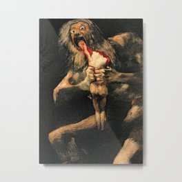 Saturn Devouring His Son Goya Painting Metal Print