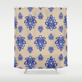 Jewelbox: Sapphire Brooch on Sand Shower Curtain