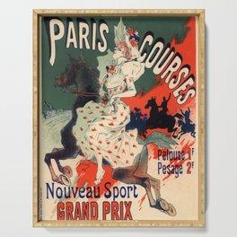 Hippodrome De La Porte Maillot Paris Courses 1900 By Jules Cheret | Reproduction Art Nouveau Serving Tray