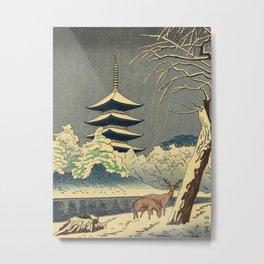 Asano Takeji Sarusawa Pond Japanese Woodblock print Winter Snow Landscape Pagoda With Deers Metal Print
