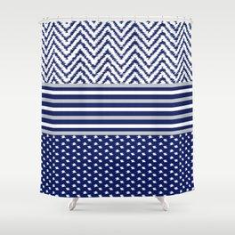 Ikat Blue Chevron Shower Curtain