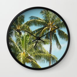 Coconut Palm Trees Sugar Beach Kihei Maui Hawaii Wall Clock