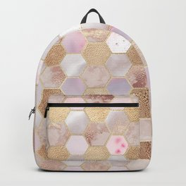 Hexagonal Honeycomb Marble Rose Gold Backpack