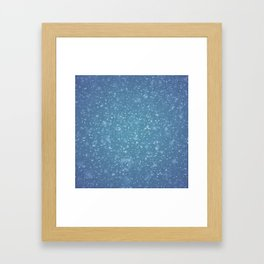 Hand painted blue white watercolor brushstrokes confetti Framed Art Print