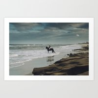 Horse in the Surf Art Print