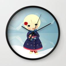 Rosy Snowflakes Wall Clock