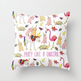 Party Like A Unicorn Throw Pillow
