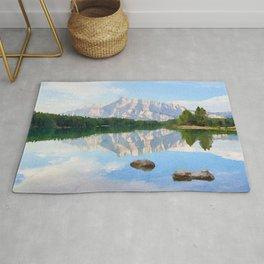 Lake watercolor painting #1 Rug