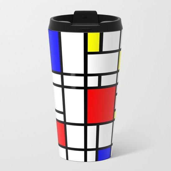 Modern Art Red Yellow Blue Grid Pattern Metal Travel Mug