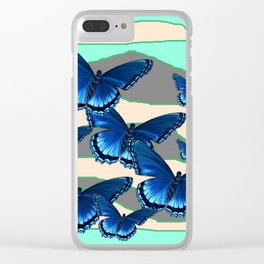 INDIGO BLUE BUTTERFLIES TURQUOISE SKIES Clear iPhone Case