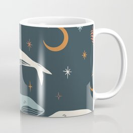 Whales flying on a dark night background with moon Coffee Mug