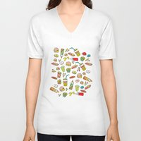 junk food V-neck T-shirts featuring Awesome retro junk food icons by Little Smilemakers Studio