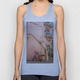 Red Scooter in Sicily Unisex Tank Top