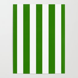Napier green - solid color - white vertical lines pattern Poster