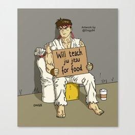 Will Teach Jiu Jitsu For Food Canvas Print