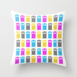 CMYK Tardis Throw Pillow