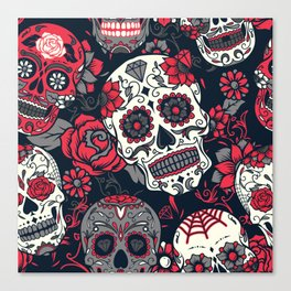 Red Sugar Skulls Canvas Print