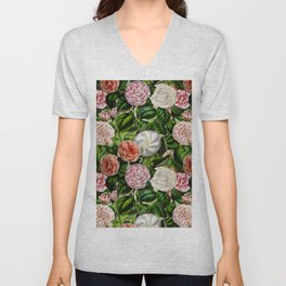 Vintage & Shabby Chic Green Dark Floral Camellia  Flowers Watercolor Pattern Unisex V-Neck