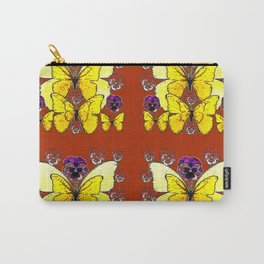 RUST COLORED YELLOW  BUTTERFLY & PANSY FLORAL Carry-All Pouch