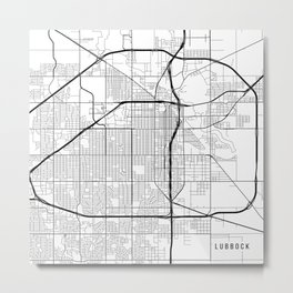 Lubbock Map, USA - Black and White Metal Print