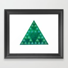 Sierpinski Triangle In Green Framed Art Print