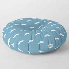 White Mustache pattern on blue background Floor Pillow