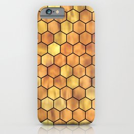 Golden Honeycomb Pattern iPhone Case