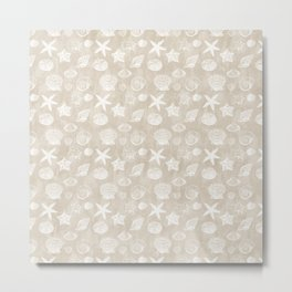 Cream Beige White Beach Shells Metal Print
