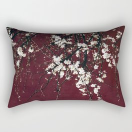 blossoms on ruby red Rectangular Pillow